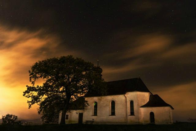 kościół, drzewo, noc, spokój