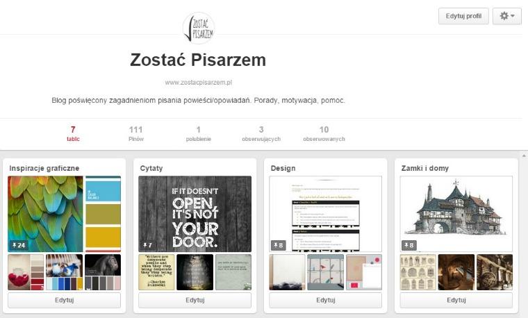 profil bloga zostacpisarzem.pl - pinterest